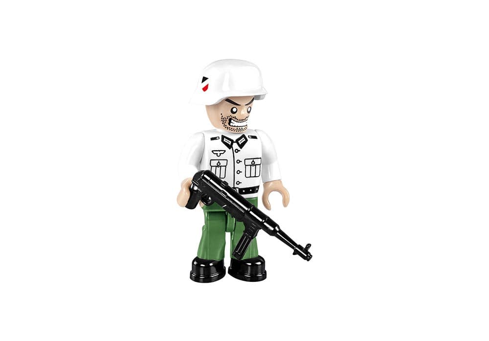Soldaat mini speelfiguur in groen wit uniform met mp40 van de Cobi 2516 historical collection world war 2 sd.kfz 165 Hummel artillerie tank