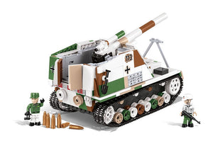 Zijaanzicht van een stilstaande Cobi 2516 historical collection world war 2 sd.kfz 165 Hummel artillerie tank
