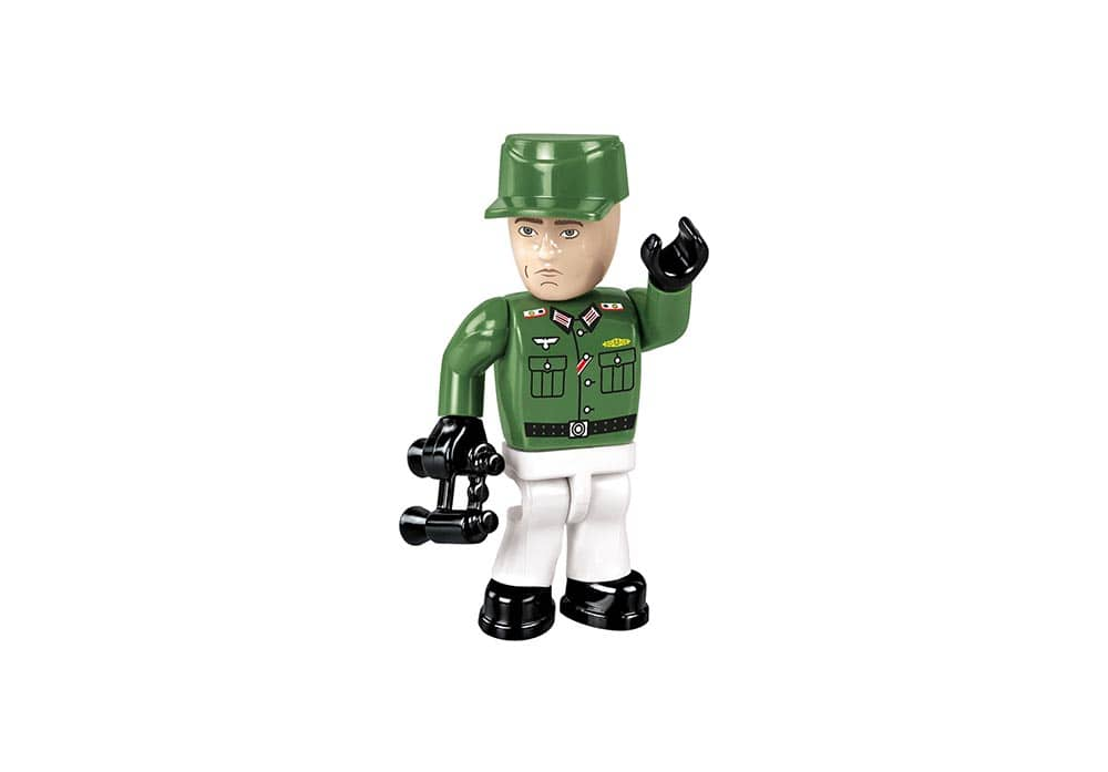 Zwaaiende tankcommandant mini speelfiguur in groen wit uniform met verrekijker van de Cobi 2516 historical collection world war 2 sd.kfz 165 Hummel artillerie tank