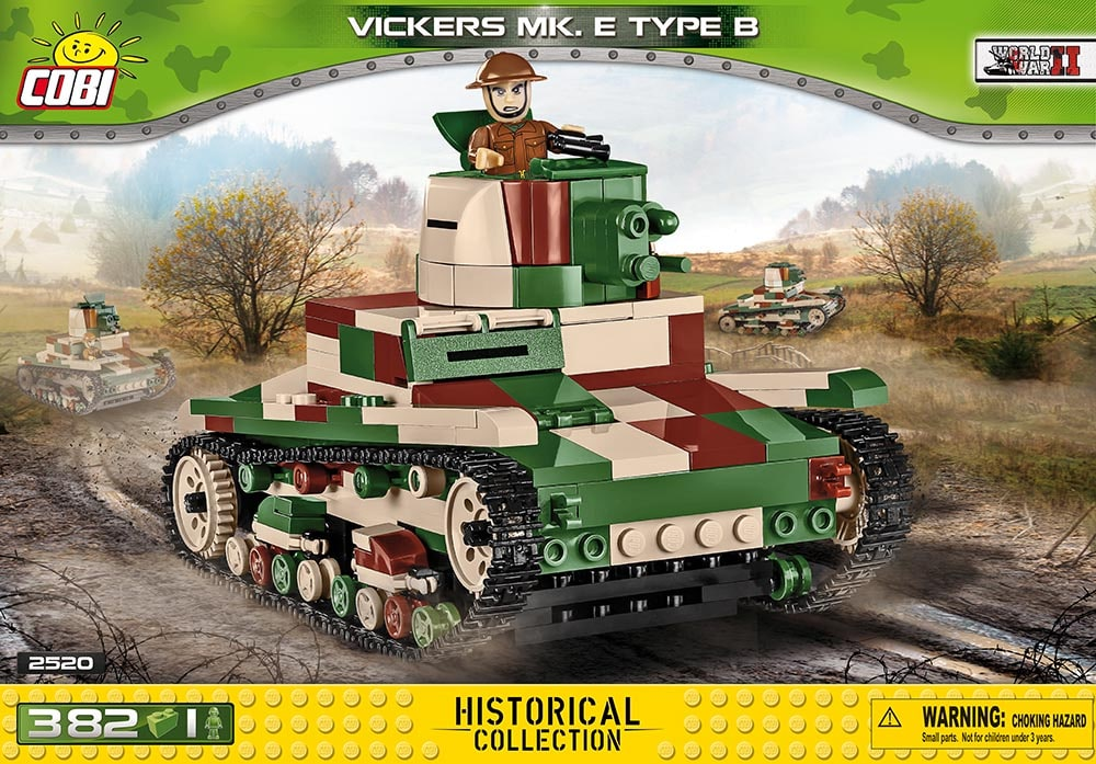 Voorkant van de Cobi 2520 bouwset World War II Historical Collection Vickers MK. E Type B tank