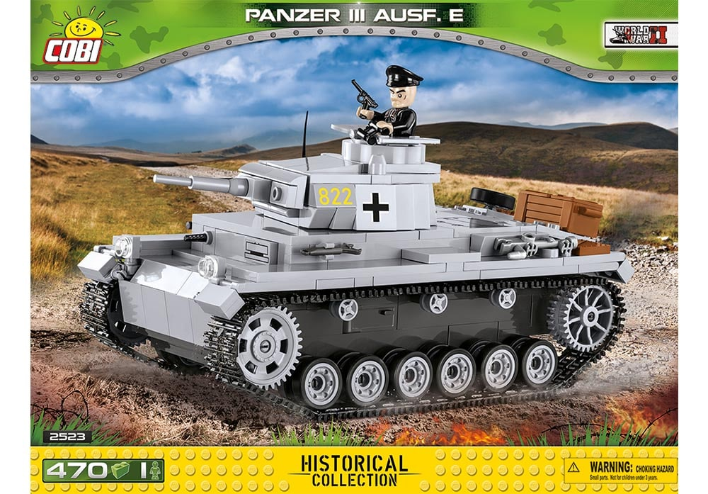 Voorkant van de Cobi 2523 bouwset World War II Historical Collection Panzer III Ausf. E tank