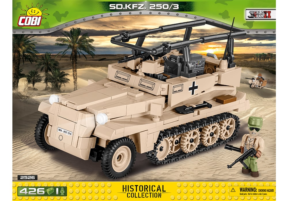 Voorkant van de Cobi 2526 bouwset World War II Historical Collection SD.KFZ. 250/3 half-track