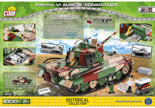 Achterkant van de Cobi 2540 bouwset World War II Historical Collection PzKpfw VI Ausf. B Konigstiger tank
