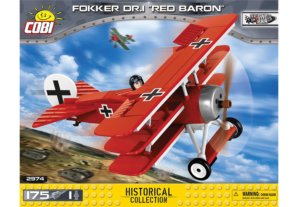Voorkant van de Cobi 2974 bouwset Great War Historical Collection Fokker DR.I Red Baron