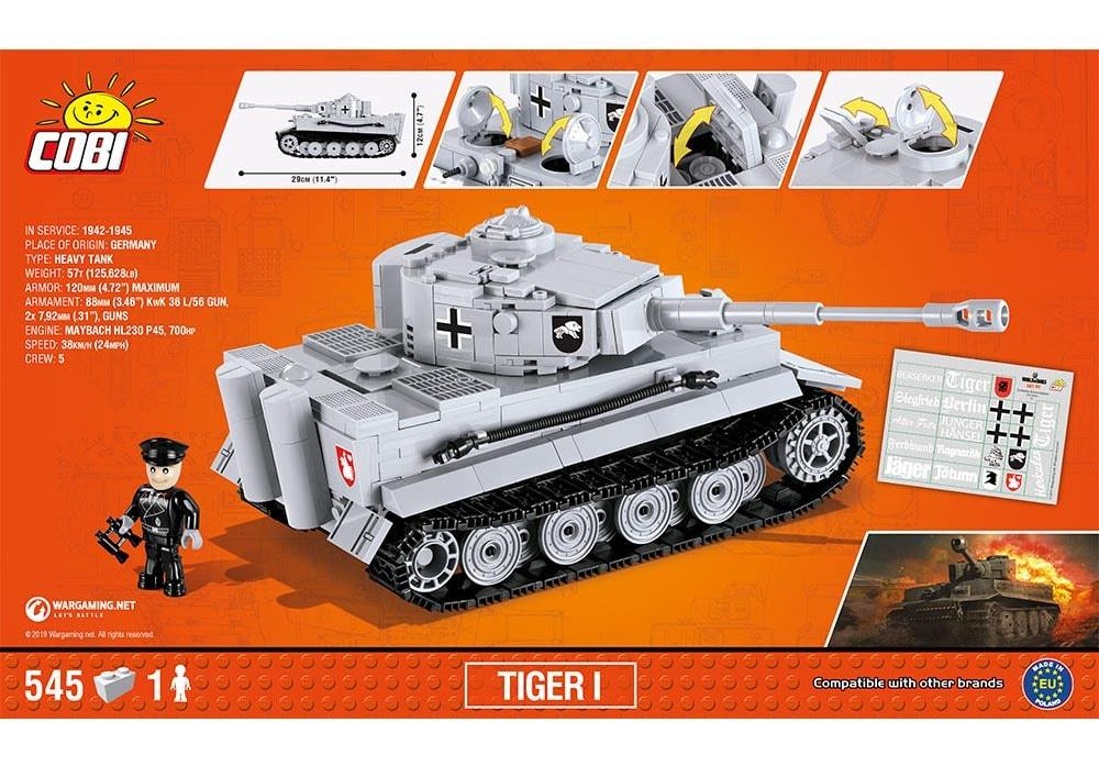 Achterkant van de Cobi 3000B bouwset world of tanks Tiger 1 tank