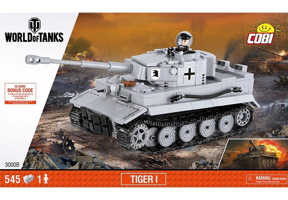 Voorkant van de Cobi 3000B bouwset world of tanks Tiger 1 tank