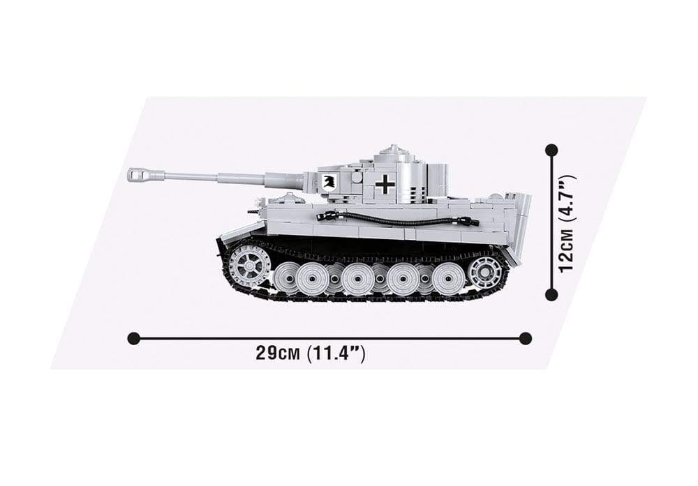 Zijaanzicht met afmetingen van de Cobi 3000B world of tanks Tiger 1 tank