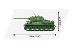 Zijaanzicht met afmetingen van de Cobi 3005A world of tanks T-34-85 tank