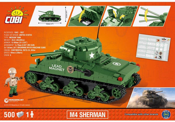 Achterkant van de Cobi 3007A bouwset world of tanks M4 Sherman tank