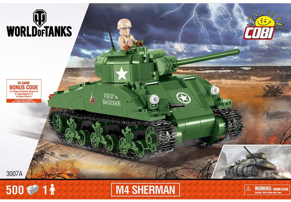 Voorkant van de Cobi 3007A bouwset world of tanks M4 Sherman tank