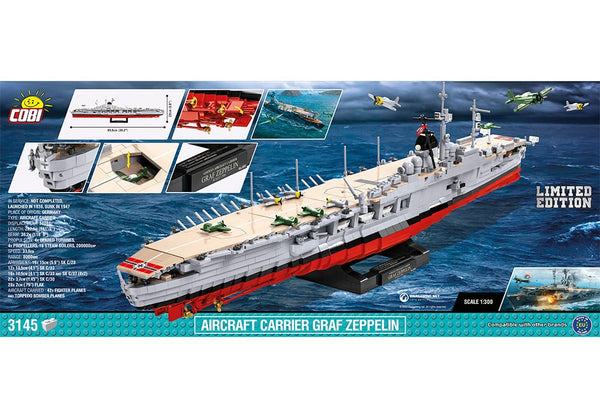 Achterkant van de Cobi 3087 bouwset world of warships aircraft carrier graf zeppelin limited edition vliegdekschip