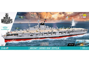 Voorkant van de Cobi 3087 bouwset world of warships aircraft carrier graf zeppelin limited edition vliegdekschip