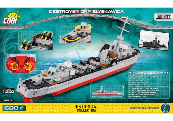 Achterkant van de Cobi 4807 bouwset historical collection world war 2 destroyer orp blyskawica
