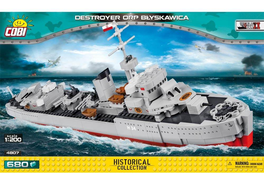 Voorkant van de Cobi 4807 bouwset historical collection world war 2 destroyer orp blyskawica