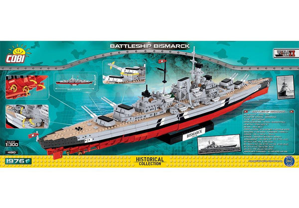 Achterkant van de Cobi 4810 bouwset historical collection world war 2 battleship bismarck