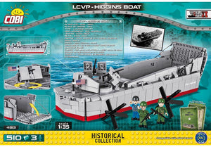 Achterkant van de Cobi 4813 bouwset historical collection world war 2 lcvp-higgins boat landingsvaartuig