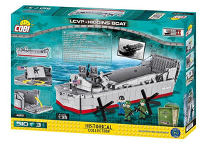 Achterkant van de doos van de Cobi 4813 historical collection world war 2 lcvp-higgins boat landingsvaartuig