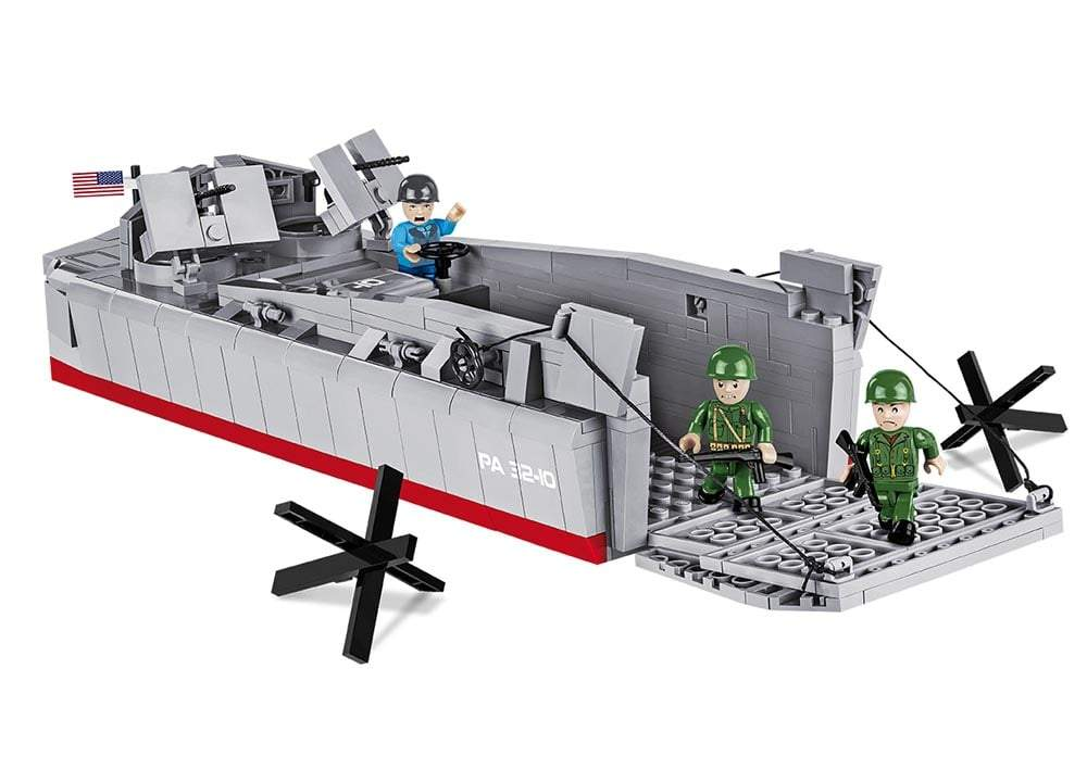 Amfibische landing met twee soldaten uit de Cobi 4813 historical collection world war 2 lcvp-higgins boat landingsvaartuig