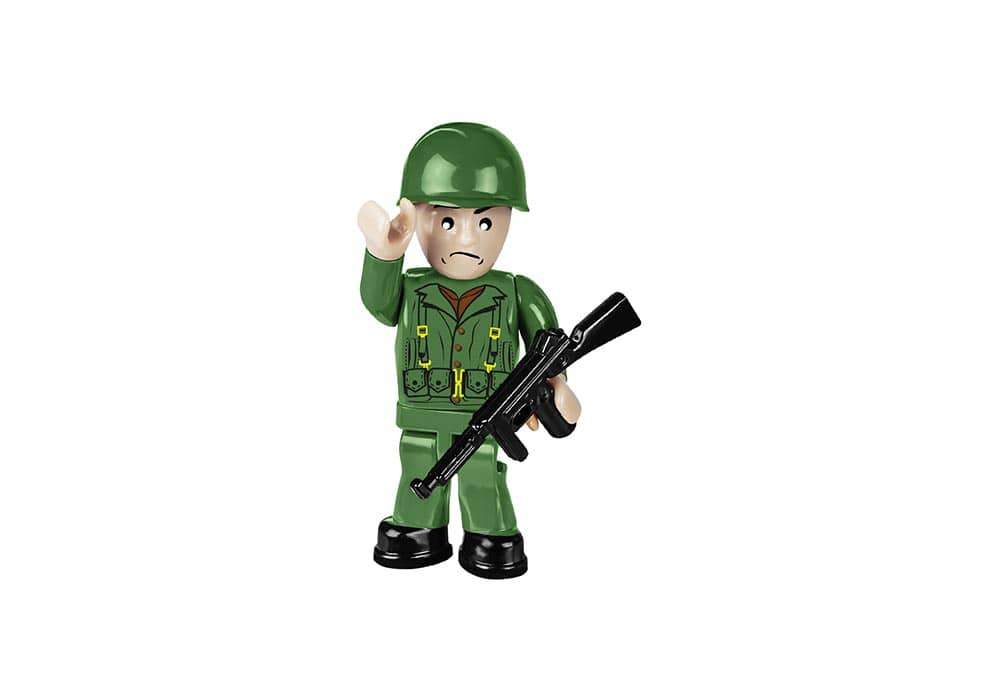 Soldaat mini speelfiguur in groen uniform met wapen van de Cobi 4813 historical collection world war 2 lcvp-higgins boat landingsvaartuig