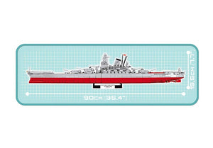 Zijaanzicht met afmetingen van de Cobi 4814 historical collection world war 2 yamato battleship