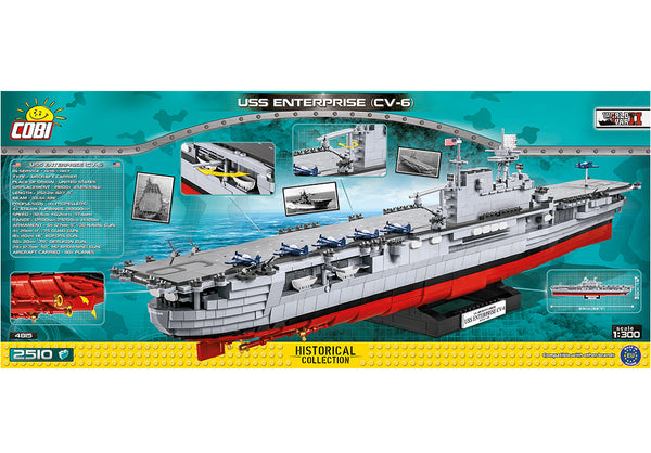 Achterkant van de Cobi 4815 bouwset historical collection world war 2 uss enterprise cv-6 vliegdekschip