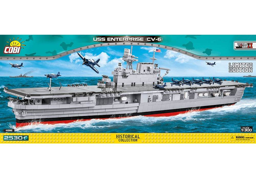 Voorkant van de Cobi 4816 bouwset historical collection world war 2 uss enterprise cv-6 vliegdekschip