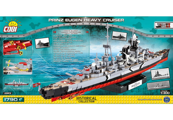 Achterkant van de Cobi 4823 bouwset World War II Historical Collection Prinz Eugen heavy cruiser
