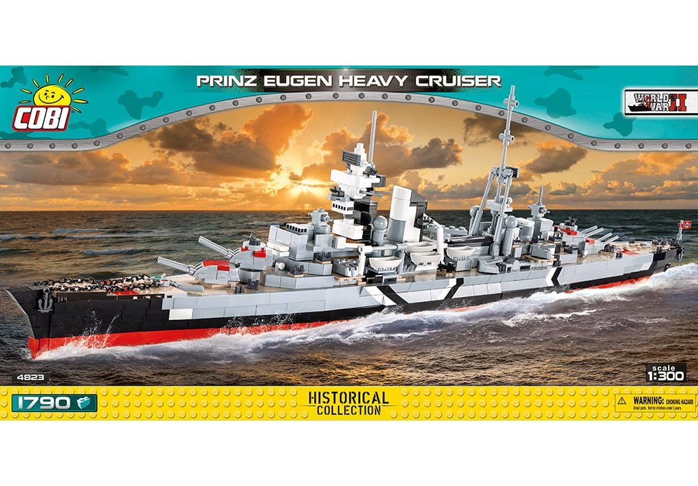 Voorkant van de Cobi 4823 bouwset World War II Historical Collection Prinz Eugen heavy cruiser