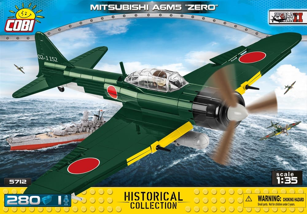 Voorkant van de Cobi 5712 bouwset World War II Historical Collection Mitsubishi A6M5 Zero jachtvliegtuig