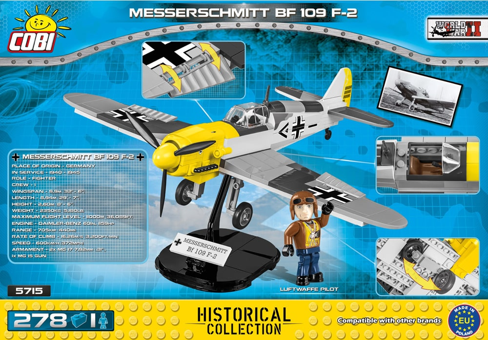 Achterkant van de Cobi 5715 bouwset world war 2 historical collection messerschmitt bf 109 f-2 jachttoestel
