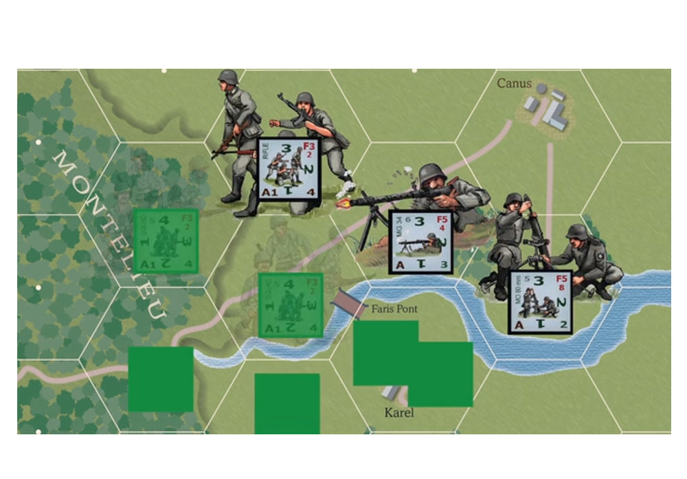 Fog of war element van het tactische block wargame bordspel combat infantry westfront 1944-45 van Columbia Games (2017)