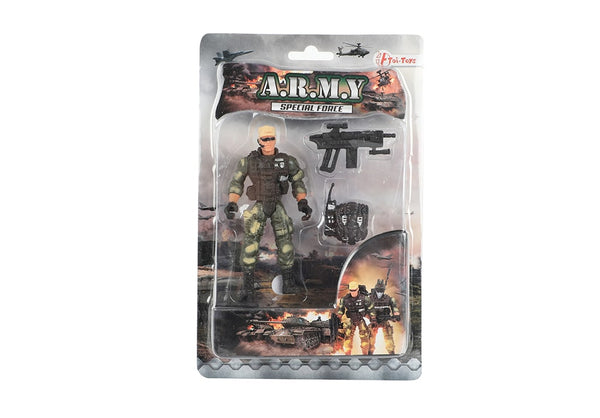 Verpakking met model Toi-Toys Army Special Forces actiefiguur soldaat comspec close-combat met walkie-talkie