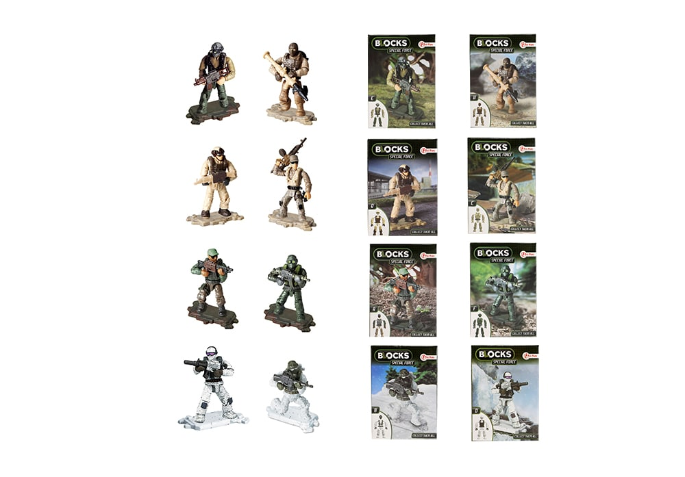 Toi-Toys BLOCKS Special Forces: 8 bouwsets A-H militair speelfiguur 7cm