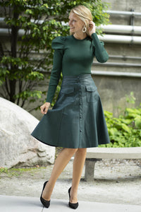 Apparalel Vegan Leather Skirt Green