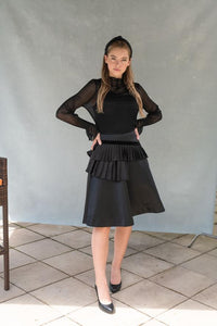 Black Textured Layered Skirt