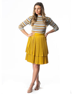 Lurex Striped Ruffled Sleeve Sweater
