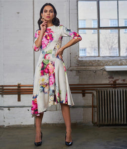 Asymmetrical Print Dress Floral