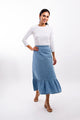 Ruffle Bottom Denim Midi Skirt