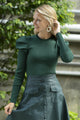 Puff Sleeve Knit Top Dark Emerald