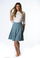 Blue Leopard Box Pleat Denim Skirt