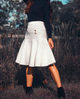 White Quilted Drop Waist Skirt