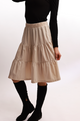 Bliss Tiered Corduroy Skirt Ivory