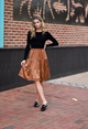 Bliss Tiered Corduroy Skirt Rust