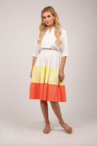 Colorblocked Tiered Dress