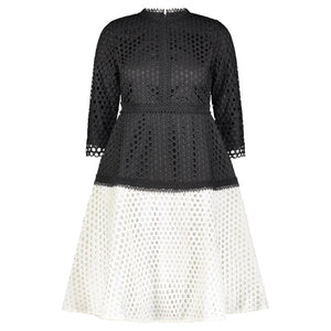 Ellie Black and White Lace Dress