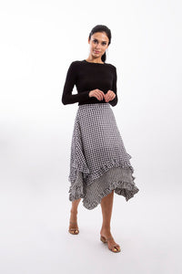 Gingham Ruffle Bottom Skirt