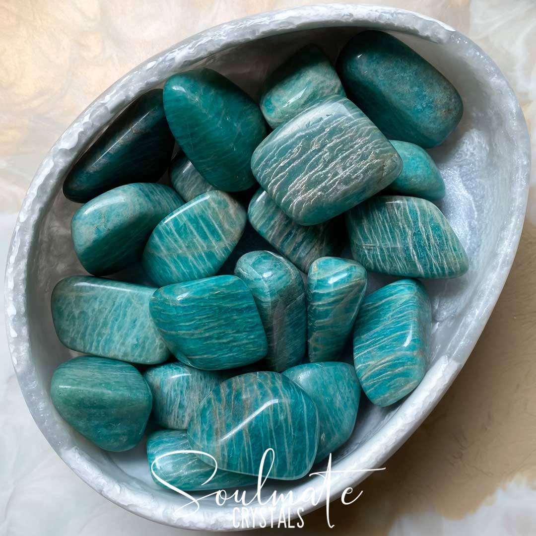 Soulmate Crystals Amazonite Tumbled Stone, Polished Teal Blue Crystal for Hope, Tranquility