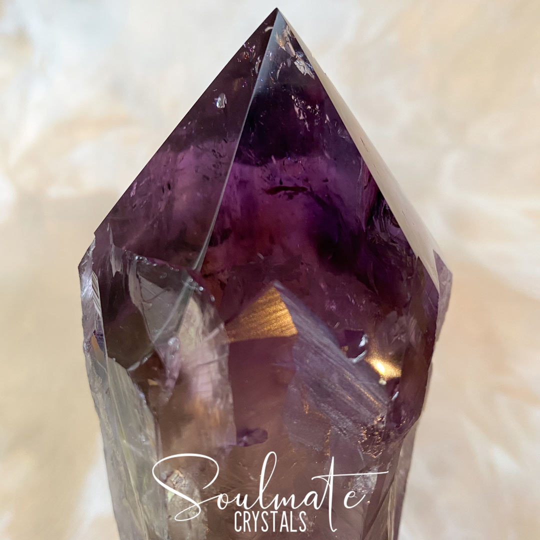 Soulmate Crystals Amethyst Dragon Tooth Raw, Partially Polished Wand, Purple Crystal Sceptre for Calm, Serenity and Reduce Anxiety, Size Giant, Bahia, Brazil