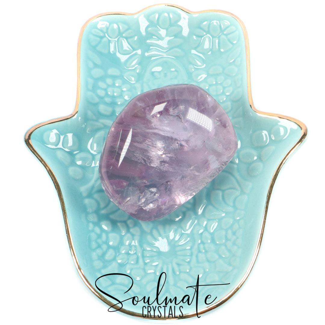 Soulmate Crystals Amethyst Polished Pebble, Lilac Stone, Purple Crystal, for Calm, Serenity and Reduce Anxiety, Size Jumbo
