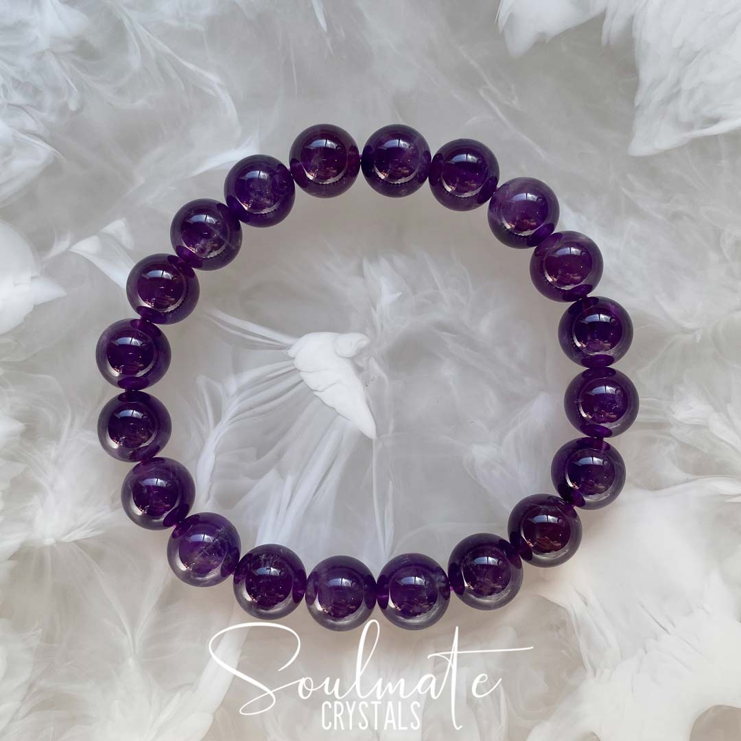 Soulmate Crystals Amethyst Polished Crystal Bracelet, Purple Crystal, for Calm, Serenity and Reduce Anxiety, One Size Fits Most, Crystal Jewellery